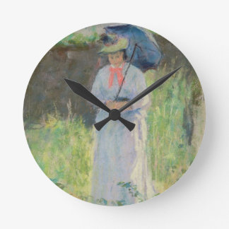 Woman with a Parasol (pastel on paper) Round Clock