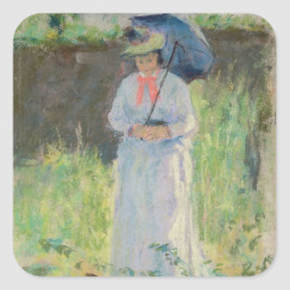 Woman with a Parasol (pastel on paper) Square Sticker