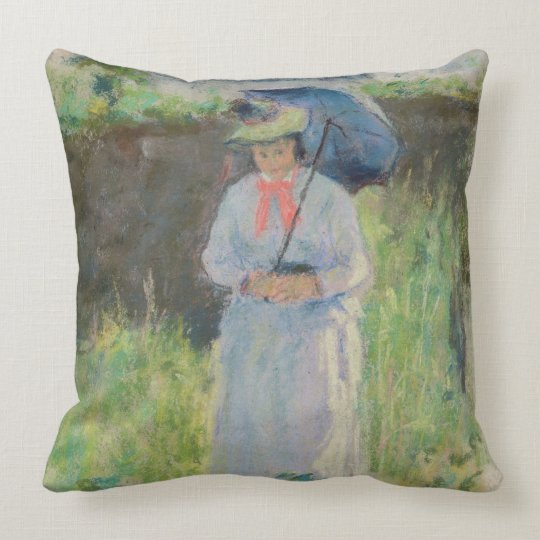 Woman with a Parasol (pastel on paper) Throw Pillow