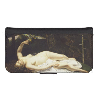 Woman with a Parrot by Gustave Courbet iPhone 5 Wallets