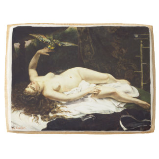 Woman with a Parrot by Gustave Courbet Shortbread Cookie