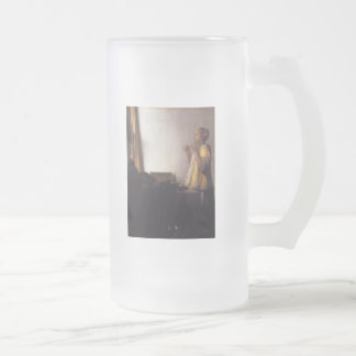 Woman with a Pearl Necklace Frosted Glass Beer Mug