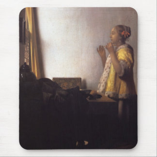 Woman with a Pearl Necklace Mouse Pad