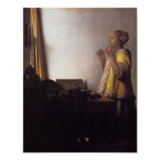 Woman with a Pearl Necklace Poster