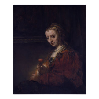 Woman with a Pink Carnation by Rembrandt, Small Posters