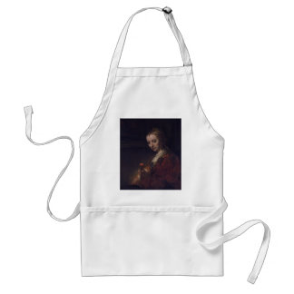 Woman with a Pink Carnation by Rembrandt van Rijn Adult Apron