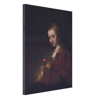 Woman with a Pink Carnation by Rembrandt van Rijn Gallery Wrapped Canvas