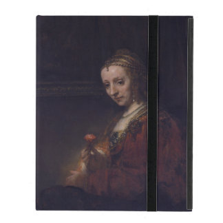 Woman with a Pink Carnation by Rembrandt van Rijn iPad Covers