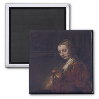 Woman with a Pink Carnation by Rembrandt van Rijn Fridge Magnet