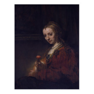 Woman with a Pink Carnation by Rembrandt van Rijn Postcard