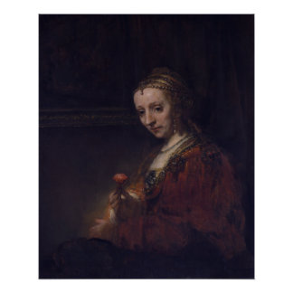 Woman with a Pink Carnation by Rembrandt van Rijn Poster