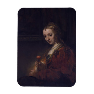 Woman with a Pink Carnation by Rembrandt van Rijn Vinyl Magnet