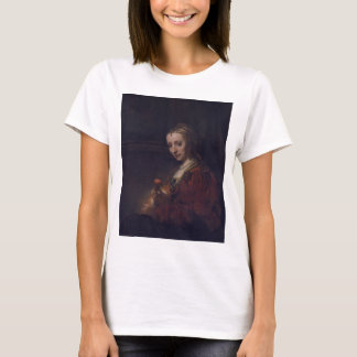 Woman with a Pink Carnation by Rembrandt van Rijn T-Shirt