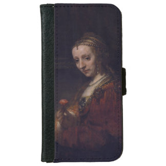 Woman with a Pink Carnation by Rembrandt van Rijn Wallet Phone Case For iPhone 6/6s
