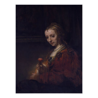 Woman with a Pink Carnation by Rembrandt van Rijn Perfect Poster