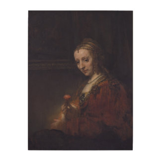 Woman with a Pink Carnation by Rembrandt Wood Canvases