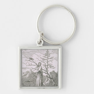Woman with a Raven, on the Edge of a Precipice Keychain