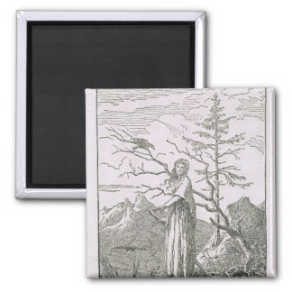 Woman with a Raven, on the Edge of a Precipice Magnet