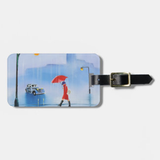 Woman with a red umbrella in the rain bag tag