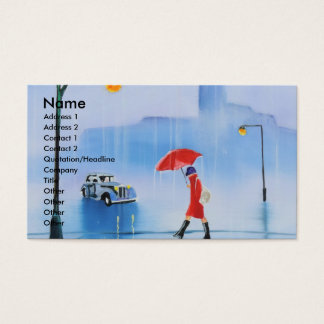 Woman with a red umbrella in the rain business card