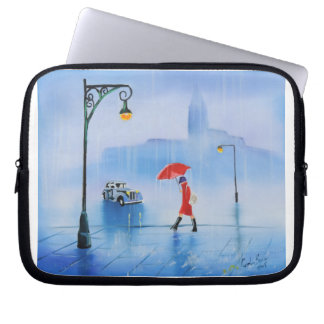 Woman with a red umbrella in the rain laptop sleeve
