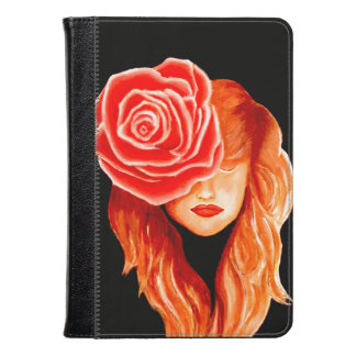 Woman with a rose in her hair kindle case