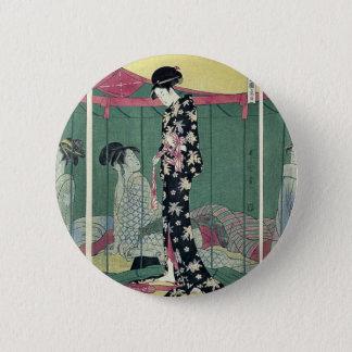 Woman with a visitor by Kitagawa, Utamaro Ukiyoe Button