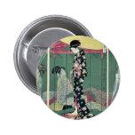 Woman with a visitor by Kitagawa, Utamaro Ukiyoe Pin