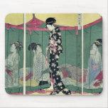 Woman with a visitor by Kitagawa, Utamaro Ukiyoe Mousepad
