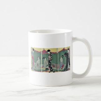 Woman with a visitor by Kitagawa Utamaro Ukiyoe Coffee Mug