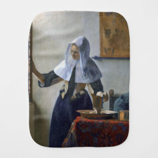 Woman with a Water Jug by Johannes Vermeer Baby Burp Cloth