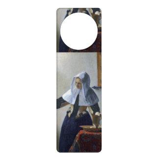 Woman with a Water Jug by Johannes Vermeer Door Hangers