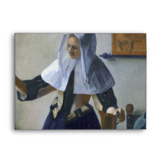 Woman with a Water Jug by Johannes Vermeer Envelope