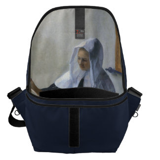Woman with a Water Jug by Johannes Vermeer Messenger Bag