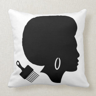 WOMAN WITH AFRO Throw Pillow