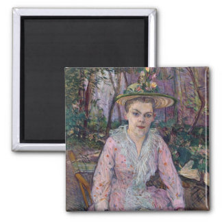 Woman with an Umbrella, 1889 2 Inch Square Magnet
