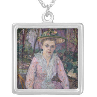 Woman with an Umbrella, 1889 Silver Plated Necklace
