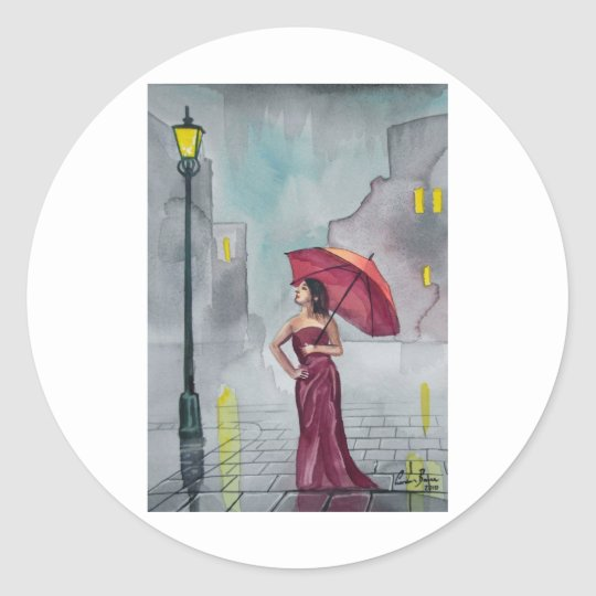 WOMAN WITH AN UMBRELLA CLASSIC ROUND STICKER
