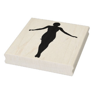 Woman with Arms Outstretched Rubber Art Stamp