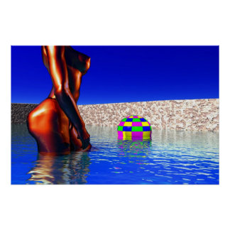 woman with ball in water poster