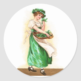 Woman with Basket of Shamrocks Vintage St Pat Day Classic Round Sticker