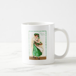 Woman with Basket of Shamrocks Vintage St Pat Day Coffee Mug