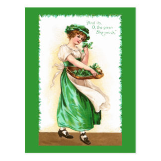 Woman with Basket of Shamrocks Vintage St Pat Day Postcard