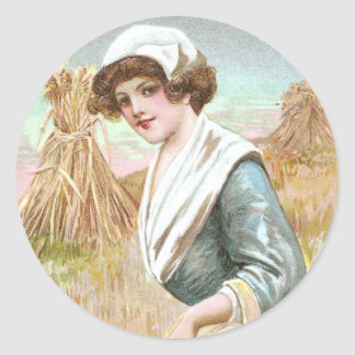 Woman with Basket of Thanksgiving Foods Classic Round Sticker