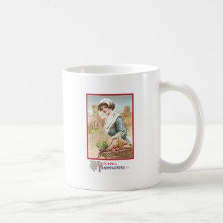 Woman with Basket of Thanksgiving Foods Coffee Mug