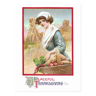 Woman with Basket of Thanksgiving Foods Postcard