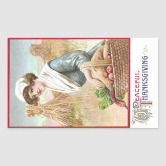 Woman with Basket of Thanksgiving Foods Rectangular Sticker