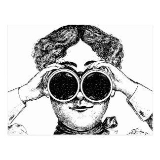 Woman with Binoculars Vintage Illustration Postcard