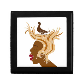 Woman With Bird Keepsake Box