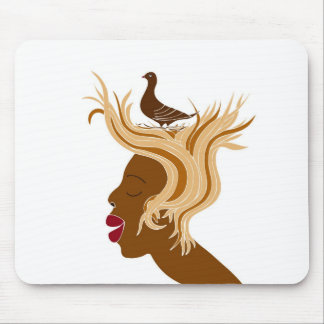 Woman With Bird Mouse Pad